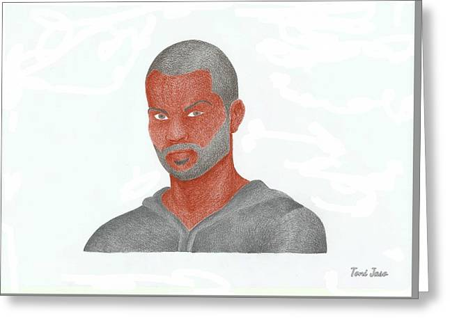 Slam Drawings Greeting Cards - Tony Parker Greeting Card by Toni Jaso