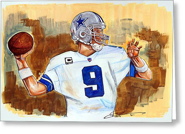 Romo Greeting Cards - Tony Romo Greeting Card by Dave Olsen