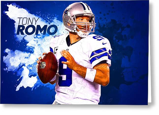 Packer Quarterback Greeting Cards - Tony Romo Greeting Card by Semih Yurdabak