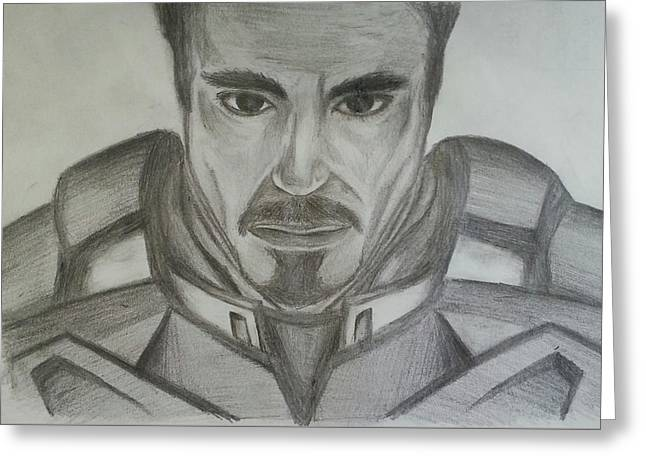 Tony Stark Greeting Card by Andrew Chan