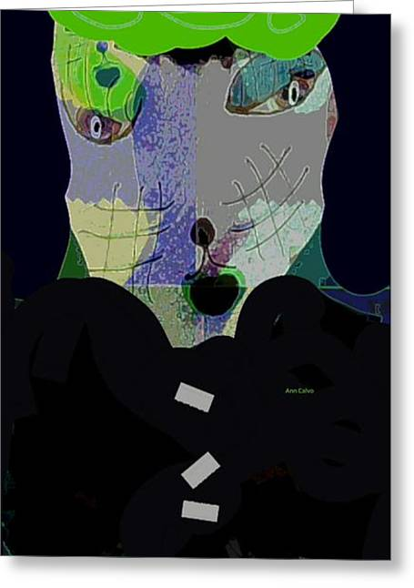 Puppies Mixed Media Greeting Cards - Tony the Dog Greeting Card by Sharon Ann Calvo