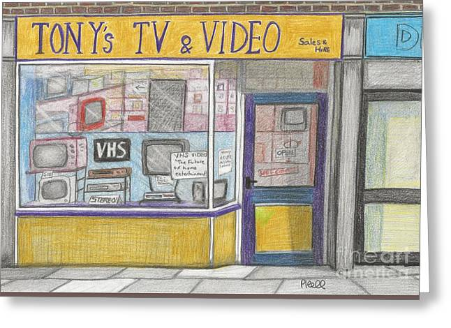 Player Drawings Greeting Cards - Tonys TV and Video shop Greeting Card by Paul Hill