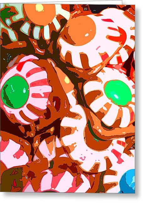 Sweet Tooth Greeting Cards - Too Much Christmas Eyeballs Greeting Card by Mindy Newman
