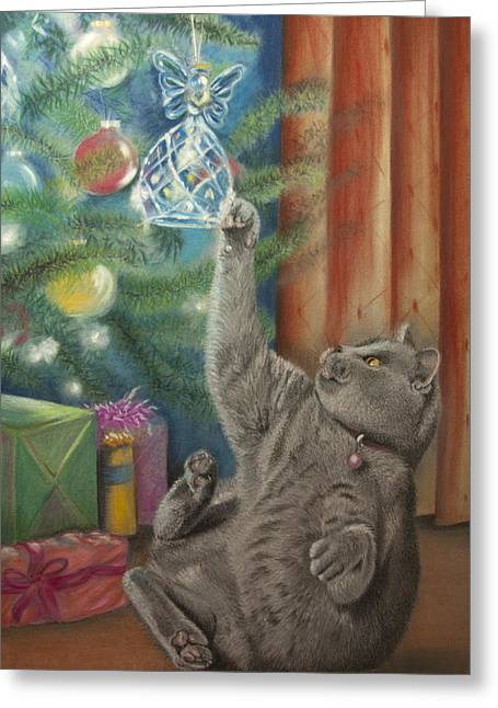 Celebration Pastels Greeting Cards - Too much Xmas pud Greeting Card by Jill Tisbury