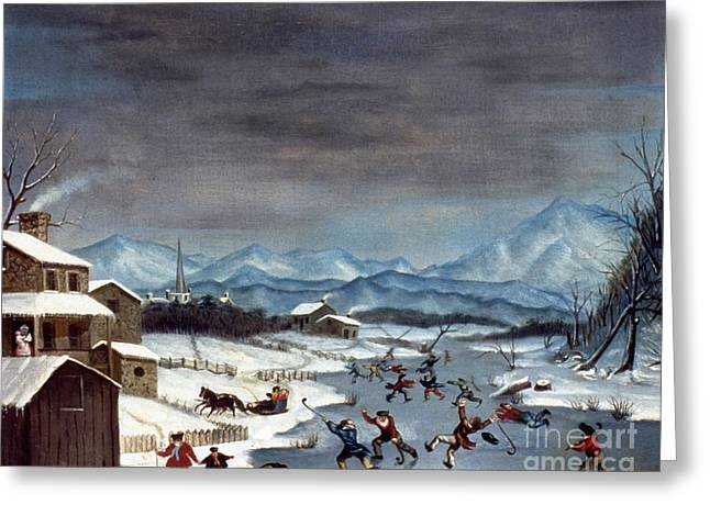 19th Century America Paintings Greeting Cards - Toole: Skating, 1835 Greeting Card by Granger