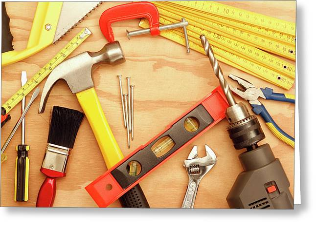 Tools Arrangement Greeting Card by Les Cunliffe