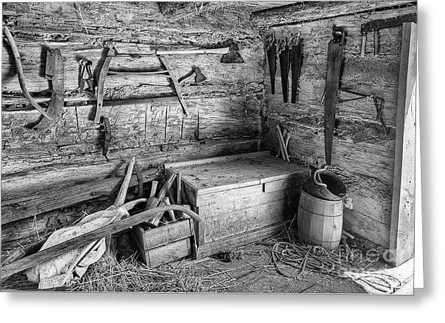 Saw Greeting Cards - Tools in the Barn C2G  Greeting Card by Ken DePue