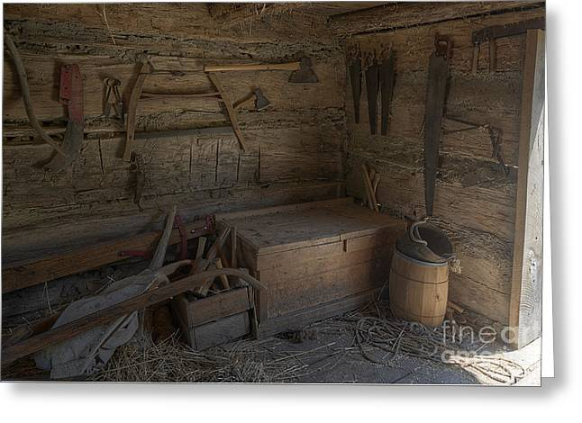 Saw Greeting Cards - Tools in the Barn  Greeting Card by Ken DePue