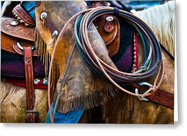 True Tool Greeting Cards - Tools of the Trade - Cowboy Saddle Closeup - Casper Wyoming Greeting Card by Diane Mintle