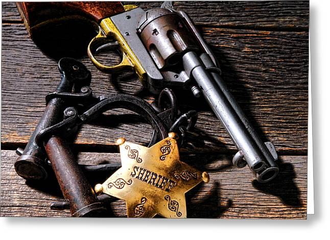 Law Enforcement Greeting Cards - Tools of Western Justice Greeting Card by Olivier Le Queinec