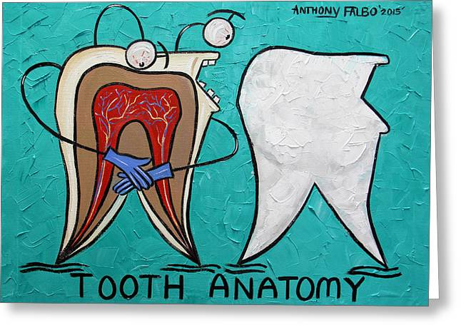 Tooth Anatomy Greeting Card by Anthony Falbo