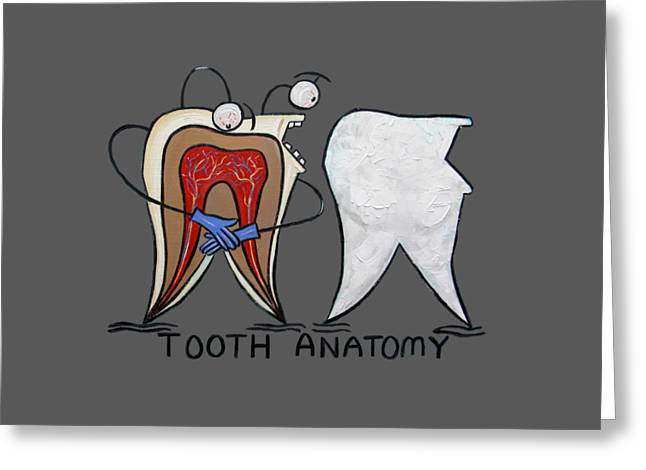 Loose Digital Greeting Cards - Tooth Anatomy T-Shirt Greeting Card by Anthony Falbo