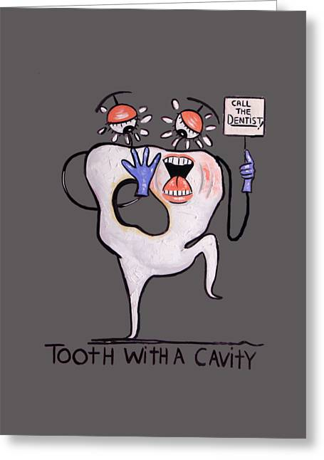 Tooth With Cavity T-shirt By Anthony Falbo Greeting Card by Anthony Falbo