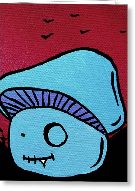 Purple Mushroom Greeting Cards - Toothed Zombie Mushroom Greeting Card by Jera Sky