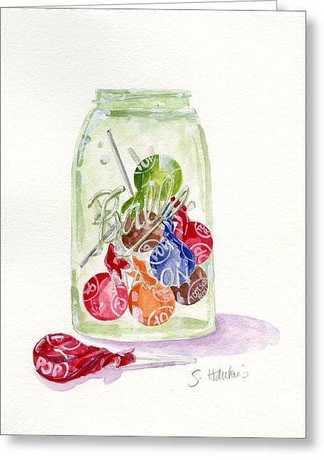 Mason Jars Greeting Cards - Tootsie Pop Jar Greeting Card by Sheryl Heatherly Hawkins