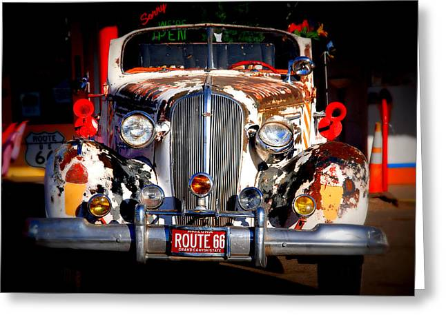 Top Model Greeting Cards - Top Model on Route 66 Greeting Card by Susanne Van Hulst