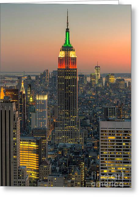 Top Of The Rock Greeting Cards - Top of the Rock Twilight IV Greeting Card by Clarence Holmes