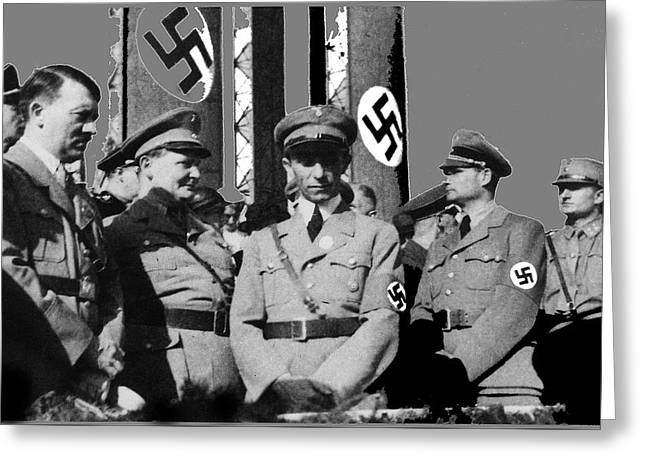 Top Ranking Nazis Hitler Goering Goebbels And Hess Circa 1939 Color Added 2016 Greeting Card by David Lee Guss