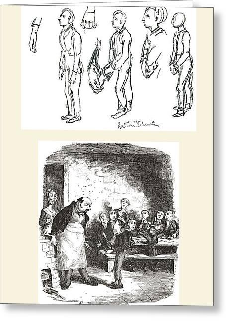 Cruikshank Greeting Cards - Top Sketch By George Cruikshank Greeting Card by Ken Welsh