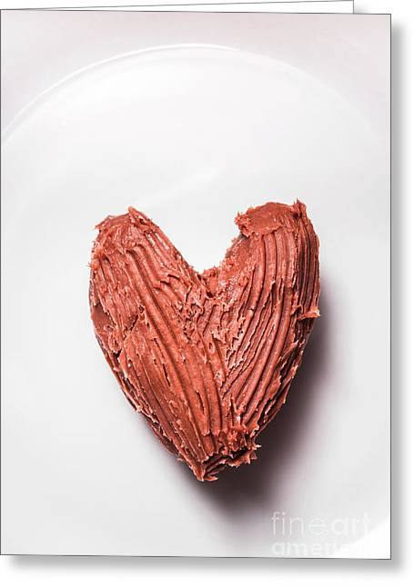Top View Of Heart Shaped Chocolate Fudge Greeting Card by Jorgo Photography - Wall Art Gallery