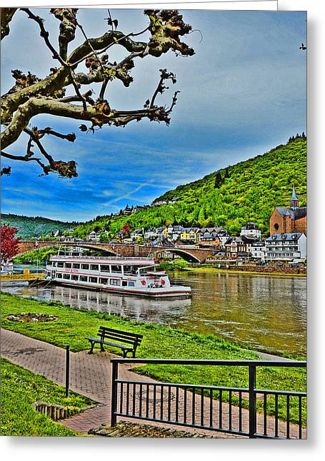Merging Greeting Cards - TOP VIEW. The Rhine. Koblenz. Germany.  Greeting Card by Andy Za
