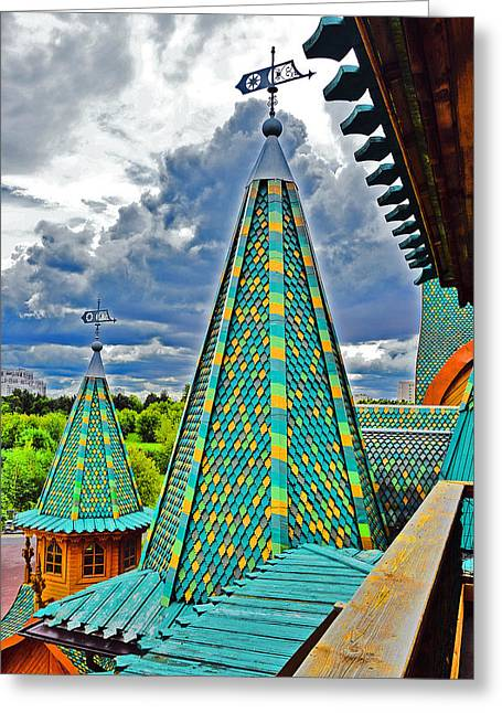 Mikhailovich Greeting Cards - Top View. Wooden Palace of Tsar Alexei Mikhailovich. Greeting Card by Andy Za