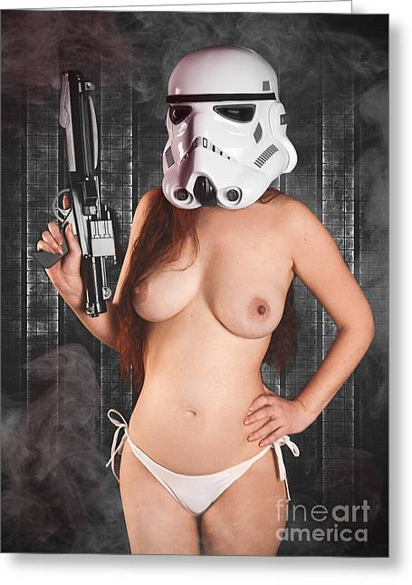 Hot Gun Greeting Cards - Topless Trooper Greeting Card by Jt PhotoDesign