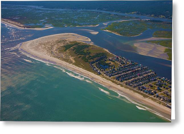 Sand Bar Greeting Cards - Topsail Island Aerial Greeting Card by Betsy C  Knapp