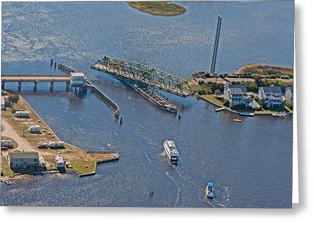 Topsail Swing Bridge Greeting Card by Betsy C Knapp