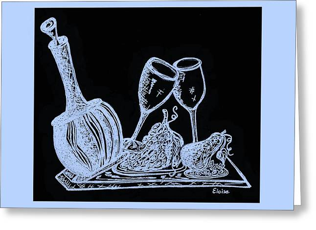 Decanters Drawings Greeting Cards - Topsy Turvy Tray - First Kiss Greeting Card by Eloise Schneider