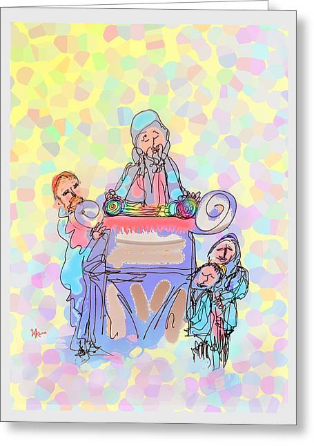 Scroll Drawings Greeting Cards - Torah Reading Greeting Card by Michael A Klein
