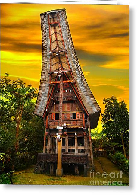 Traditional Greeting Cards - Toraja Architecture Greeting Card by Charuhas Images