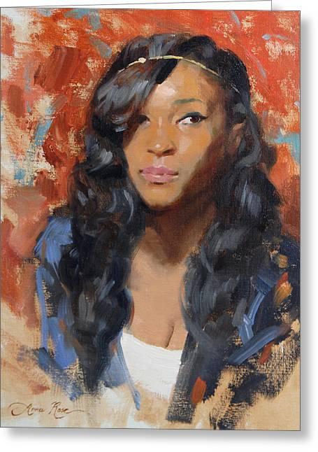 Black Hair Greeting Cards - Tori Portrait Demo Greeting Card by Anna Rose Bain