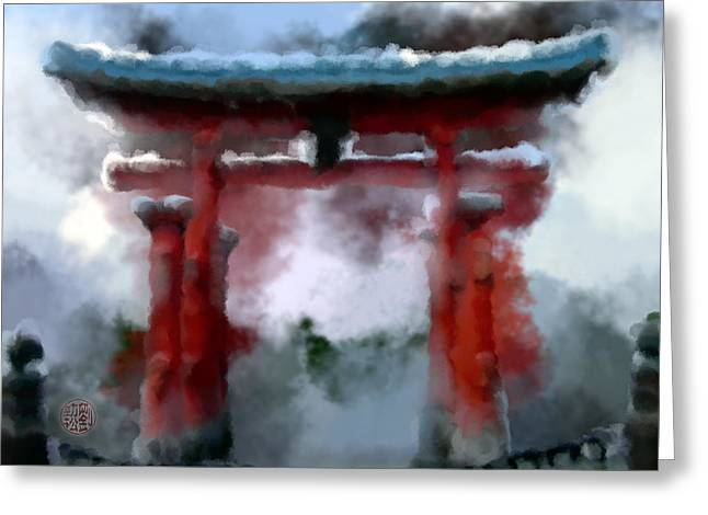 Torii Greeting Card by Geoffrey C Lewis