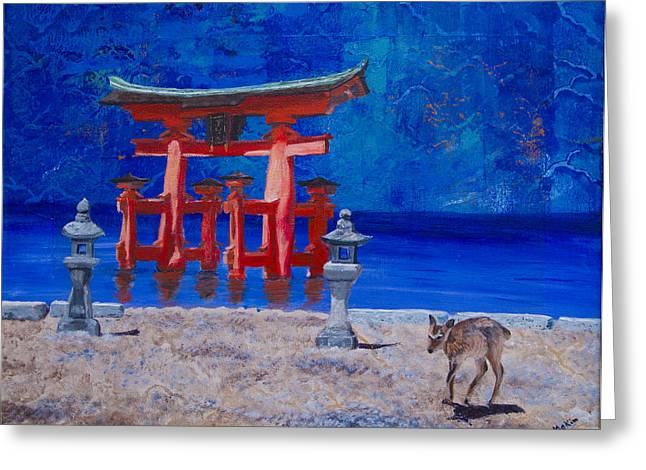 Printmaking Greeting Cards - Torii Japan Greeting Card by Jo-Anne Gazo-McKim