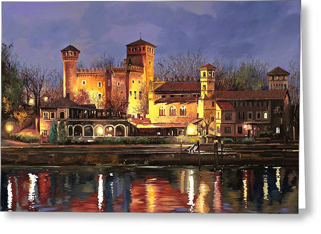 Castles Greeting Cards - Torino-il borgo medioevale di notte Greeting Card by Guido Borelli
