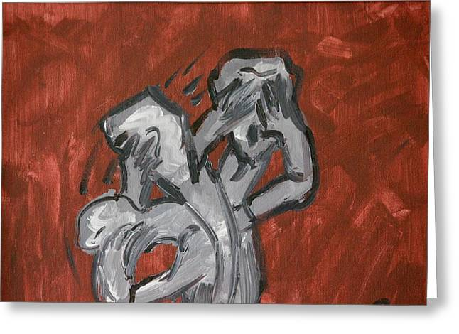 Torment Paintings Greeting Cards - Tormented Greeting Card by Christine Patterson