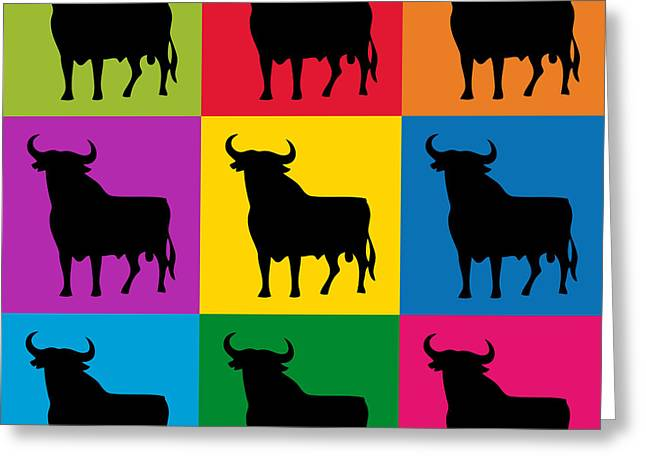 Bulls Mixed Media Greeting Cards - Toro Pop Art Greeting Card by Michael Tompsett