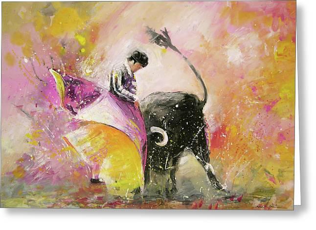 Toro Tenderness Greeting Card by Miki De Goodaboom