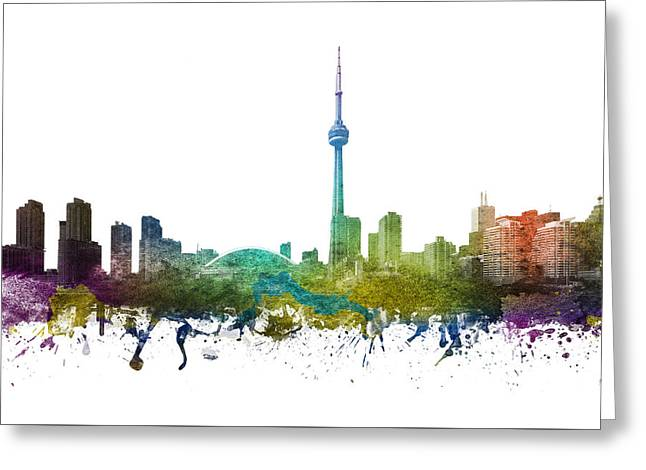 Rainbows Drawings Greeting Cards - Toronto Cityscape 01 Greeting Card by Aged Pixel