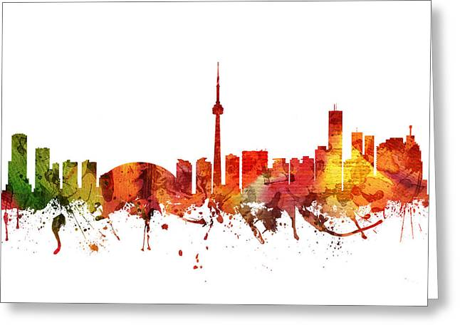 Canadian Drawings Greeting Cards - Toronto Cityscape 04 Greeting Card by Aged Pixel
