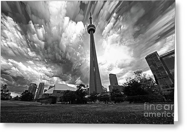 Toronto Cn Tower With Skyline Black And White Greeting Card by Charline Xia
