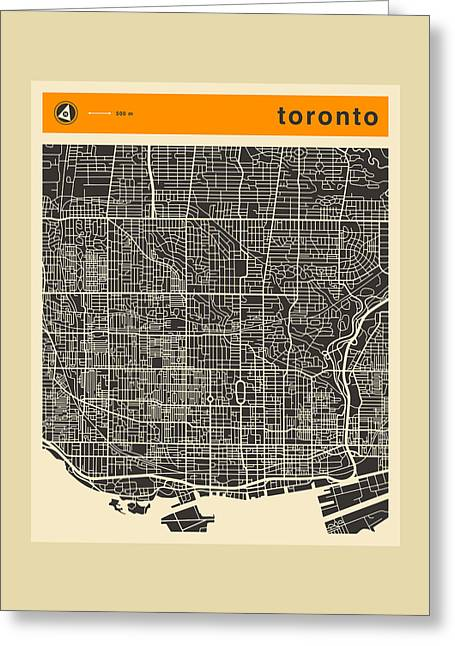 Abstract Map Greeting Cards - Toronto Map Greeting Card by Jazzberry Blue