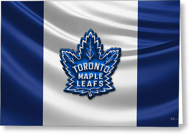 Hockey Memorabilia Greeting Cards - Toronto Maple Leafs - 3D Badge over Silk Flag Greeting Card by Serge Averbukh