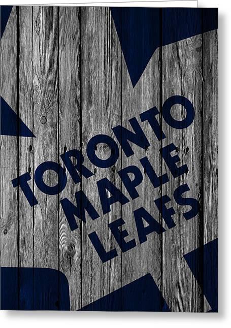 Toronto Maple Leafs Wood Fence Greeting Card by Joe Hamilton