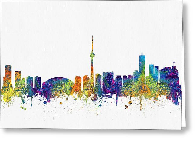 Down Town Greeting Cards - Toronto Ontario skyline Color03 Greeting Card by Aged Pixel