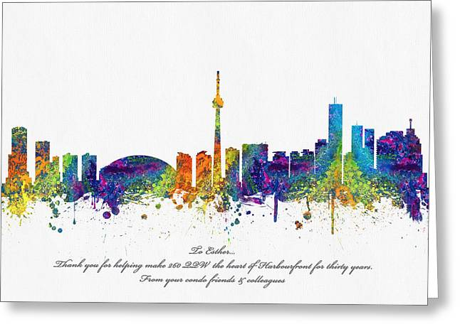 High Rise Greeting Cards - Toronto Ontario skyline For Randy Greeting Card by Aged Pixel