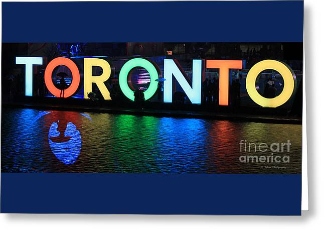 Game Greeting Cards - Toronto Sign with Umbrella Silhouette Greeting Card by Nina Silver