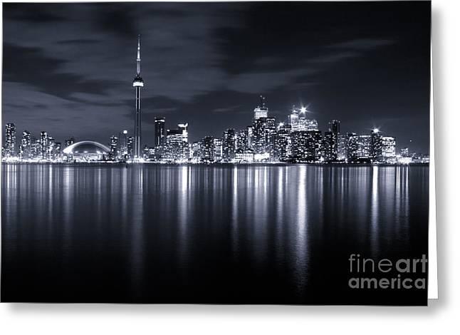 Toronto Skyline Monochrome Greeting Card by Matt  Trimble