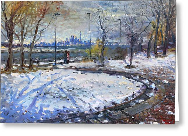 Skyline Paintings Greeting Cards - Toronto Skyline Greeting Card by Ylli Haruni